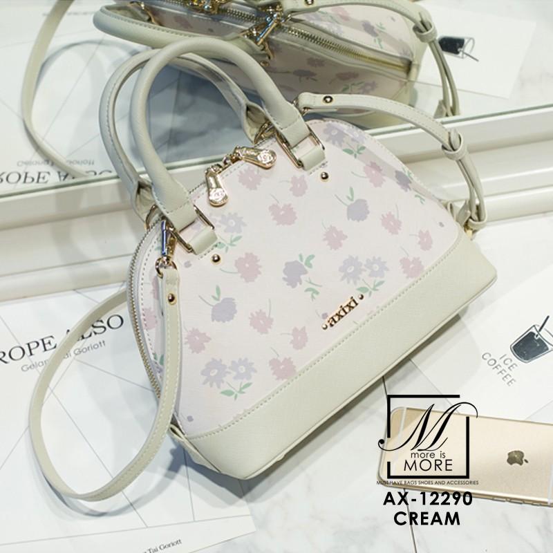 กระเป๋าสะพายกระเป๋าถือ แฟชั่นนำเข้าลายดอกไม้ แบรนด์ axixi แท้ AX-12290-CRM (สีครีม)