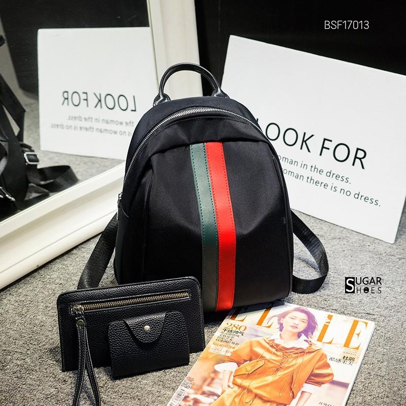 พร้อมส่ง กระเป๋าเป้ไนล่อนเซ็ทBSF17013 [สีดำแถบแดง]