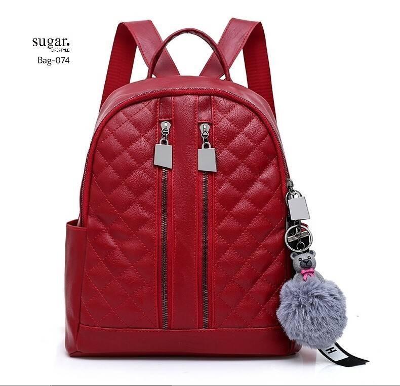กระเป๋าเป้ผู้หญิงหนัง pu เย็บลายข้ามหลามตัดด้านหน้า BAG-074-แดง (สีแดง)