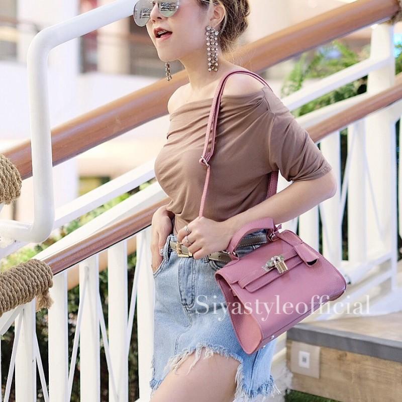 กระเป๋าสะพายแฟชั่น กระเป๋าสะพายข้างผู้หญิง Mini Kelly Pu [สีชมพู]