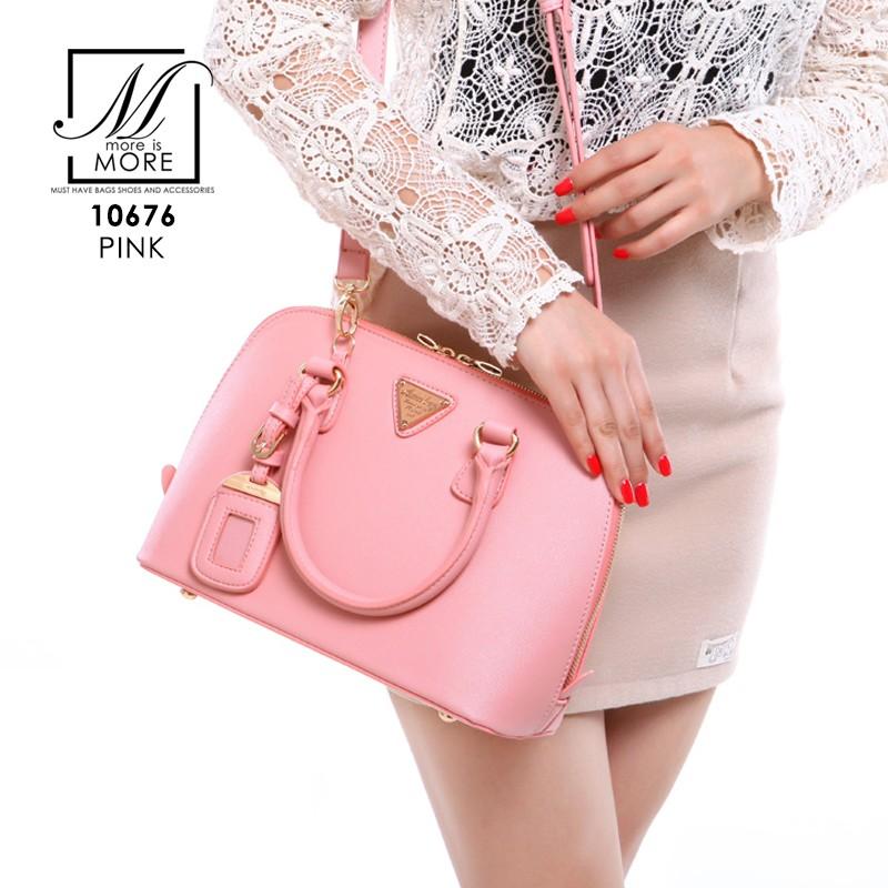 กระเป๋าสะพายกระเป๋าถือ แฟชั่นนำเข้าดีไซน์คุณหนู แบรนด์ axixi แท้ 10676-PNK (สีชมพู)