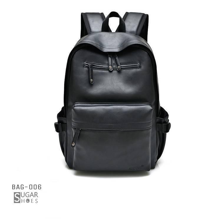 พร้อมส่ง กระเป๋าเป้หนังผู้ชาย- BAG-006 [สีดำ]