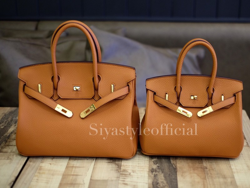 พร้อมส่ง กระเป๋าสะพายข้างผู้หญิง Birkin PU 25 cm [สีส้ม]