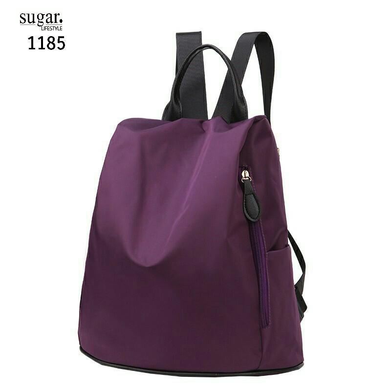 แบบมาใหม่ ทรงสุดฮิต กระเป๋าเป้ผู้หญิงผ้าไนล่อนสีสันสดใส 1185-ม่วง (สีม่วง)