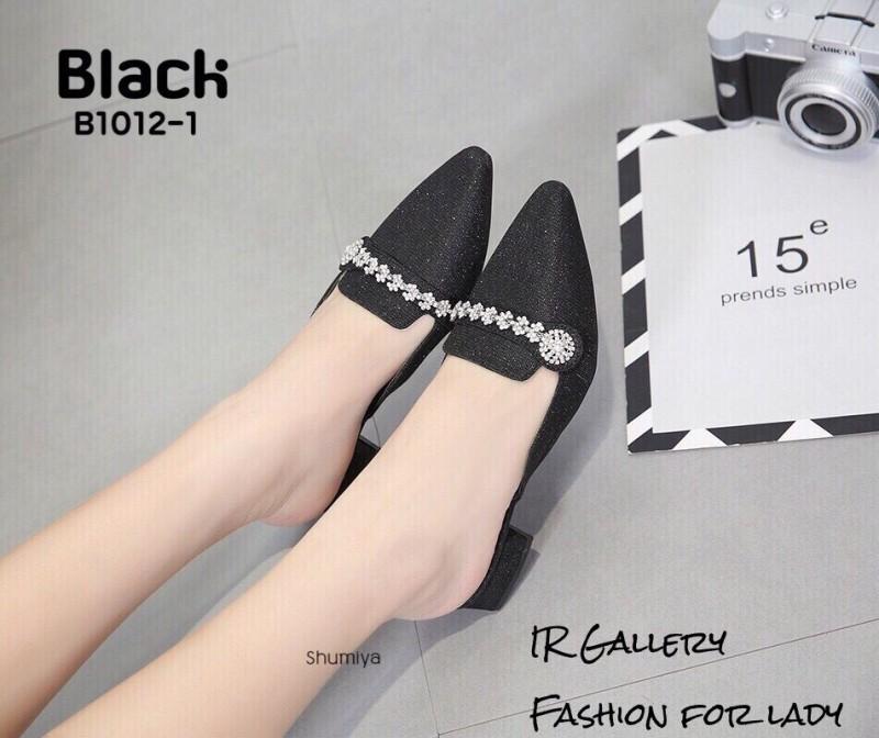 คัชชูเปิดส้นคาดเพชร B1012-1-ดำ (สีดำ)