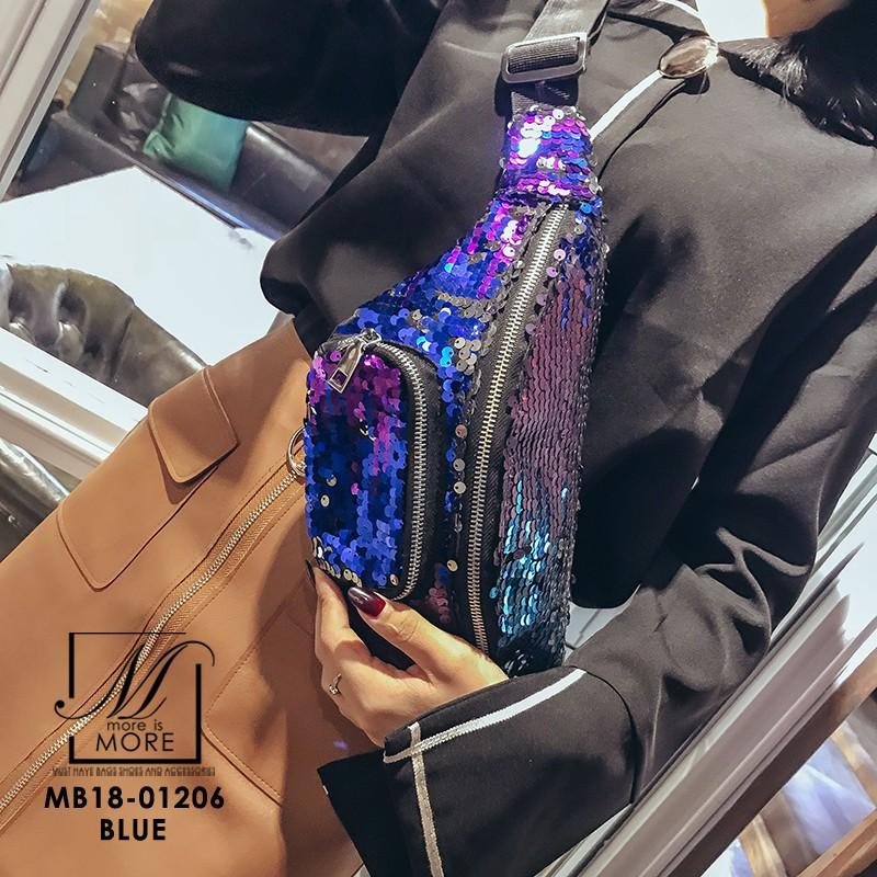 กระเป๋าสะพาย กระเป๋าคาดเอวกระเป๋าคาดอก แฟชั่นงานนำเข้าแบบคาดปักเลื่อม MB18-01206-PUR [สีม่วง]