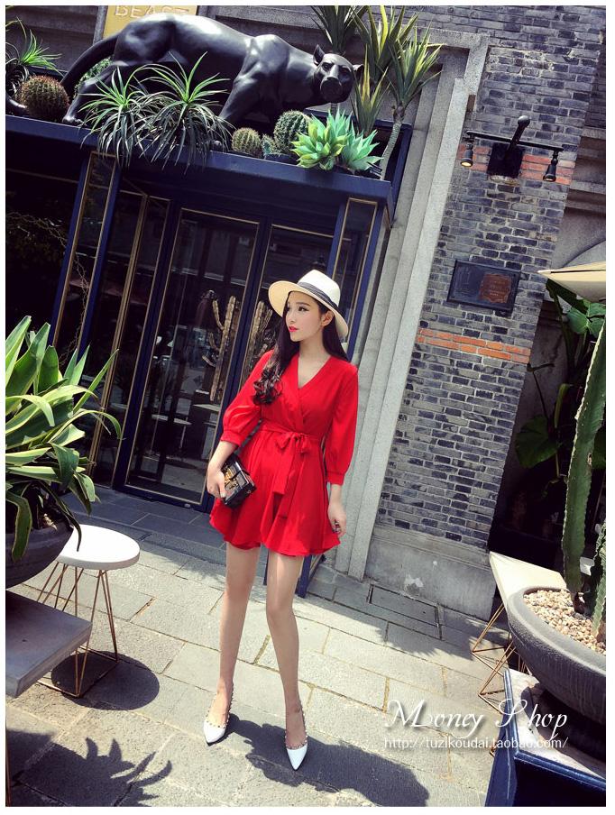 รับตัวแทนจำหน่ายชุดเดรสแฟชั่นเกาหลีสีแดงกระโปรงบานน่ารัก