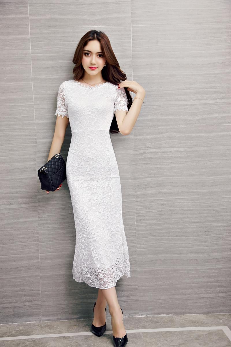ชุดลูกไม้ยาวสีขาวแขนสั้นราคาถูก