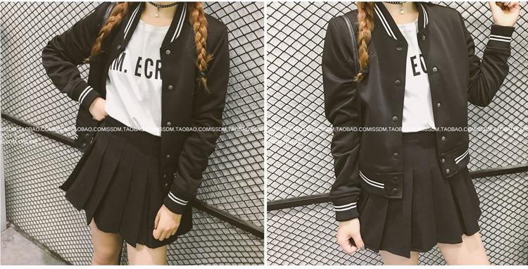 เสื้้อกันหนาวแฟชั่นเกาหลีสีดำ