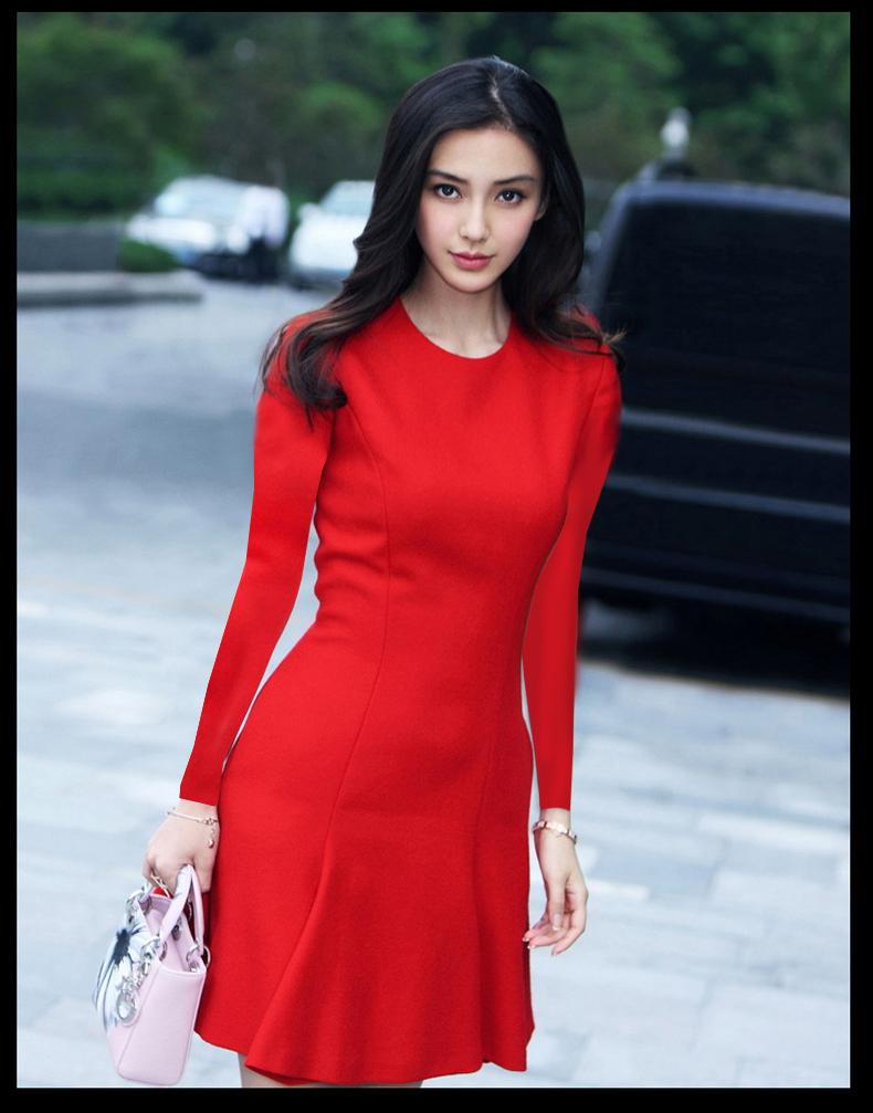 ชุดเดรสทำงานแฟชั่นเกาหลีสีแดงคอกลมแขนยาวกระโปรงบานเข้ารูป