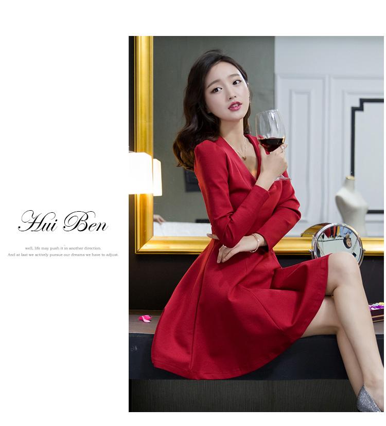ชุดเดรสทำงานแฟชั่นเกาหลีสีแดงแขนยาวมีซิบหลัง