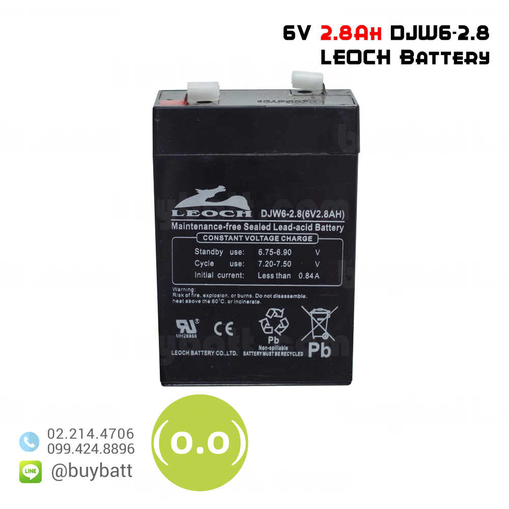 แบตเตอรี่แห้ง 6V 2.8Ah DJW6-2.8 LEOCH Battery Lead Acid SLA VRLA AGM