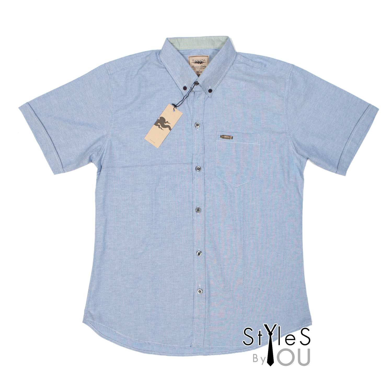 เสื้อเชิ้ต แฟชั่น สีพื้น สีน้ำเงิน Pastel Shirt แขนสั้นและแขนยาว