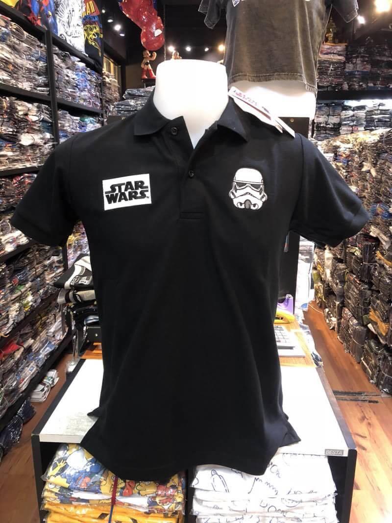 สตาร์วอร์ เสื้อโปโล-คอปก สีดำ (Star Wars Black logo Storm Trooper CODE:1003)