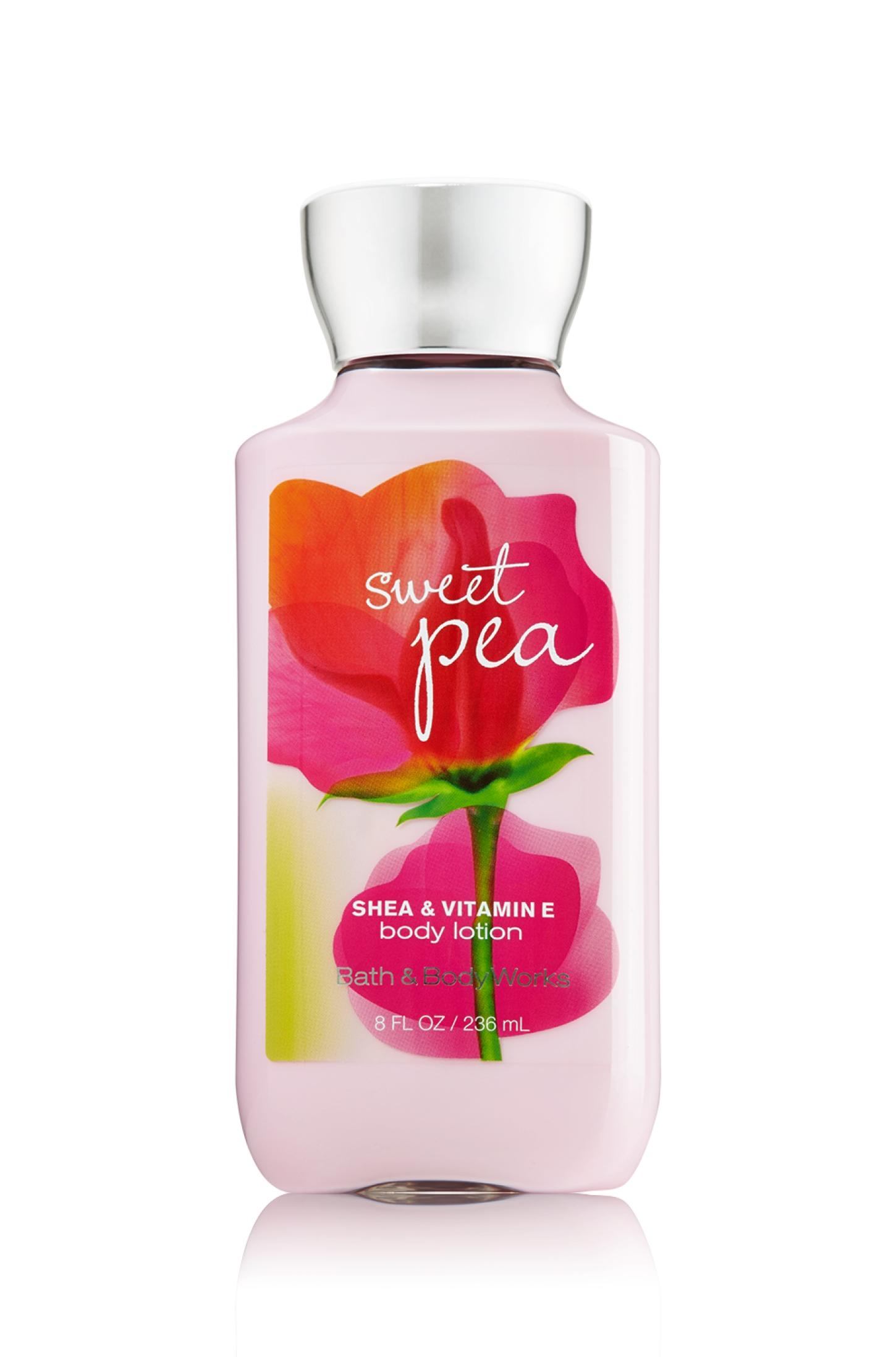 Bath & Body Works SHEA & VITAMIN E body lotion sweet pea 8 oz.(236 ml.)บำรุงผิวให้นุ่มมม หอมมม นาน 16 ช.ม.ดีมากๆจากอเมริกาค่ะ