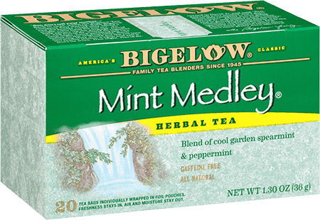 BIGELOW Mint Medley 20 tea bags ชามีชื่อจากฝั่งอเมริกา มีมาตั้งแต่ปี 1945 ตัวนี้เป็นชามินท์รวมรสทั้งสเปียร์มินท์และเปปเปอร์มินท์ หอมมากๆๆๆค่ะ