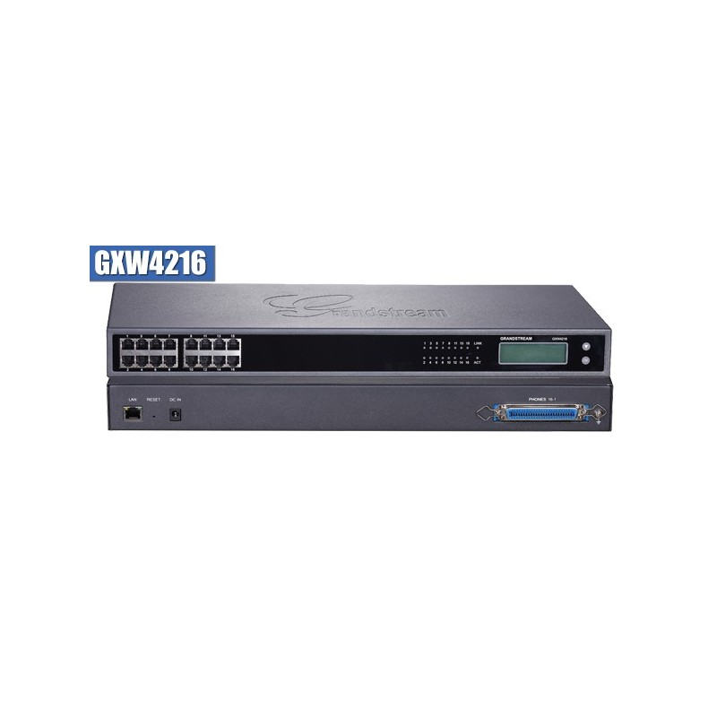 GXW 4216 FXS Gateway ขนาด 16-Port FXS, 1 Port Lan, T.38 Fax Over IP, 132x48 backlit graphic
