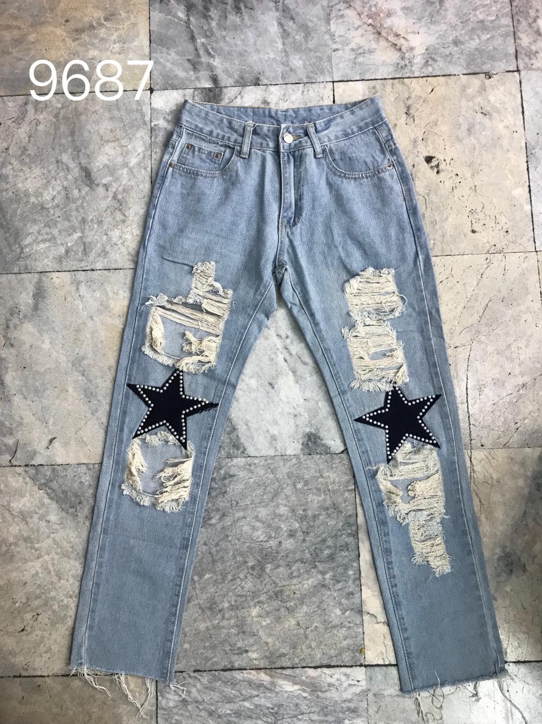 กางเกงยีนส์ทรงบอย สีอ่อน ลายดาว
