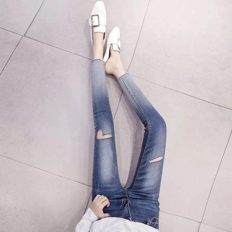 กางเกงยีนส์ขาเดฟ ฟอกสีทูโทน