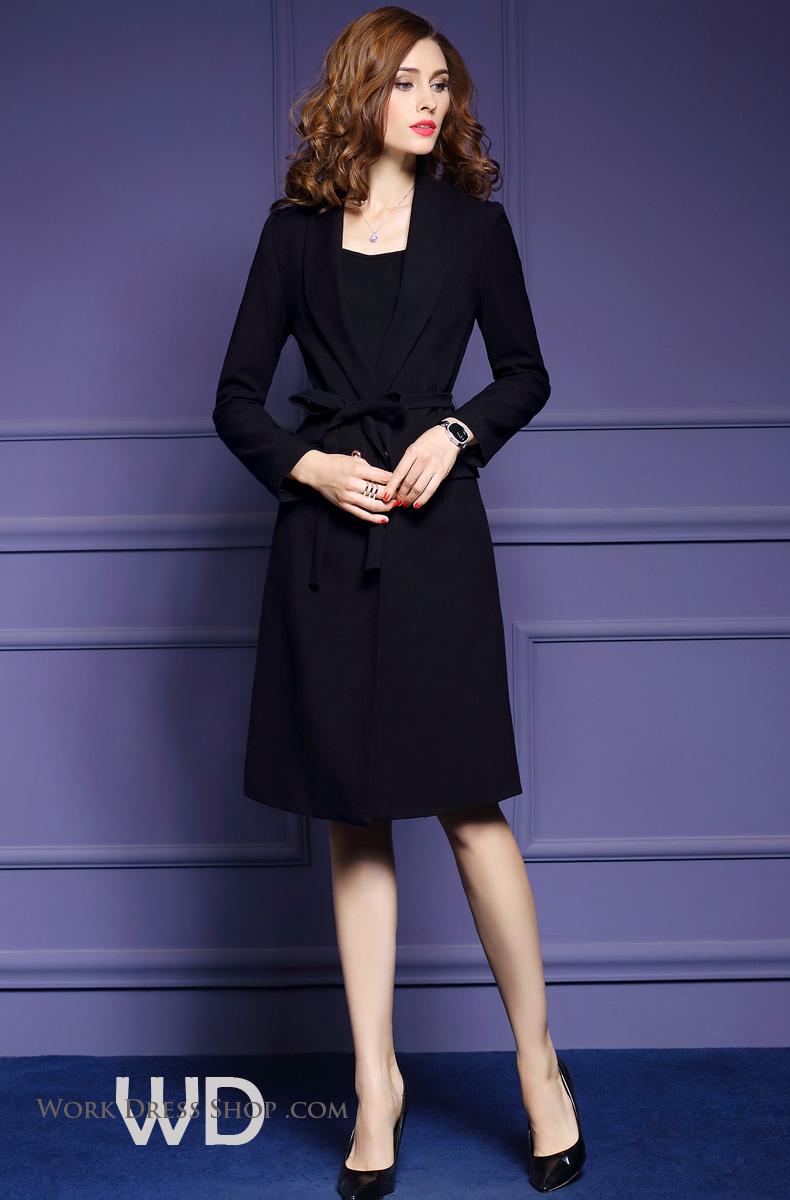 พร้อมส่ง ชุดเสื้อโค้ท สีดำ ใส่เป็นเสื้อคลุมได้ ผูกโบว์ช่วงเอวเก๋ๆ สำหรับหน้าหนาว แฟชั่นน่ารักแบบสาวเกาหลี **พร้อมส่งไซส์ 3XL , 2XL , XL , L , M **