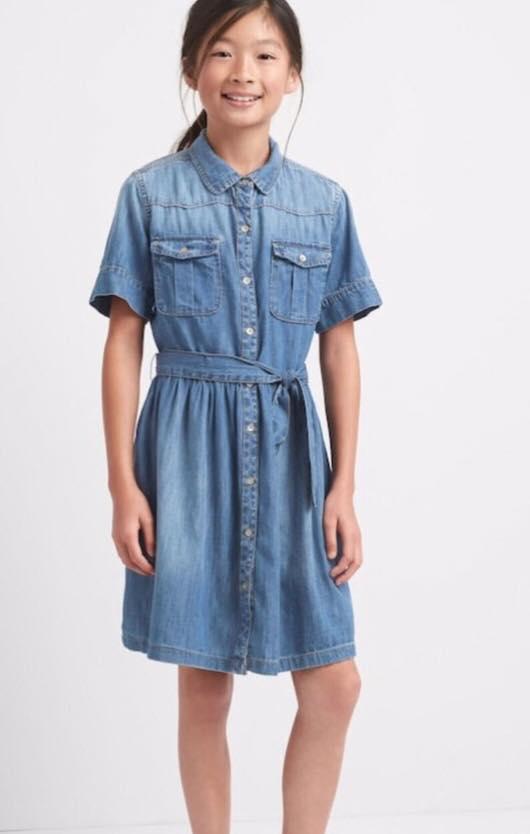 1938 Gap Kids Dress - Dinim Jean เดรสยีนส์เนื้อนุ่ม ขนาด 10,12,14 ปี (ส่งฟรี ลทบ.)