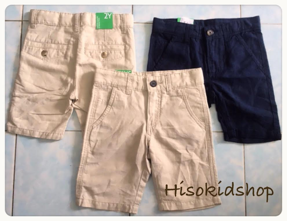 1680 Benetton Shorts - Navy Blue/Khaki ขนาด L(8-9)/XL(10-11) ปี