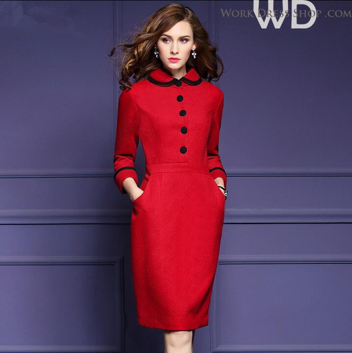 Preorder ชุดทำงาน สีแดง คอบัวแขนยาว แต่งกระดุมหน้าเก๋ไก๋ ทรงสวย