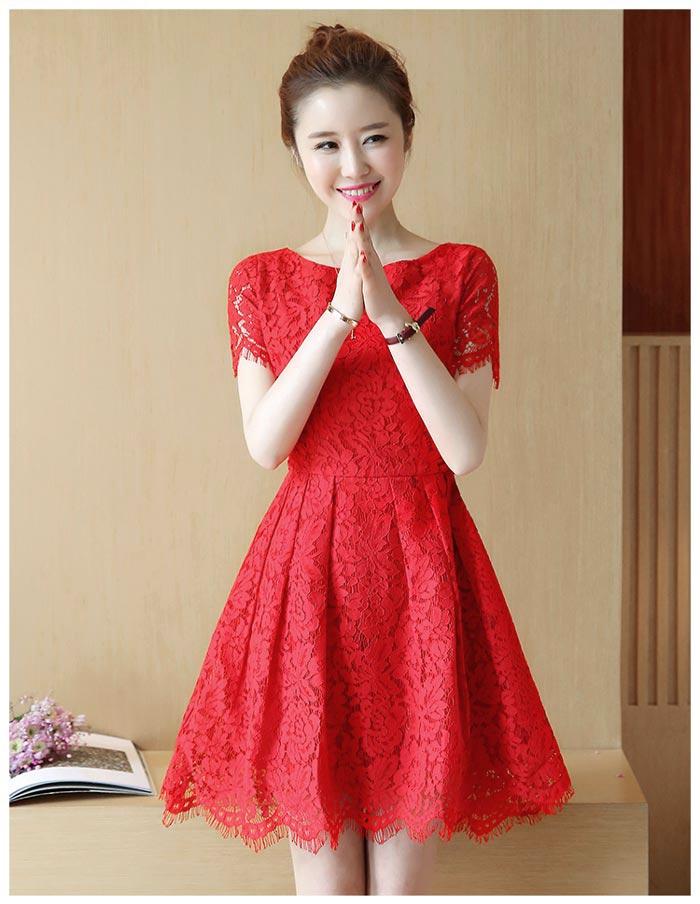 ชุดเดรสลูกไม้สีแดง แขนสั้น ชุดผ้าลูกไม้สั้นสวยๆ น่ารักๆ แฟชั่นเกาหลี