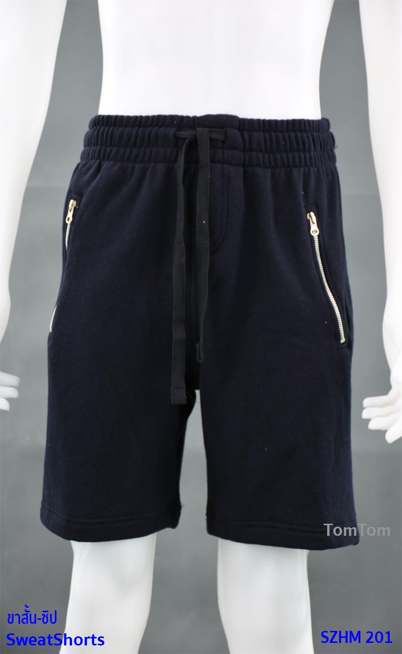 กางเกงกีฬาขาสั้น กระเป๋าซิป สีกรมท่า-ดำ