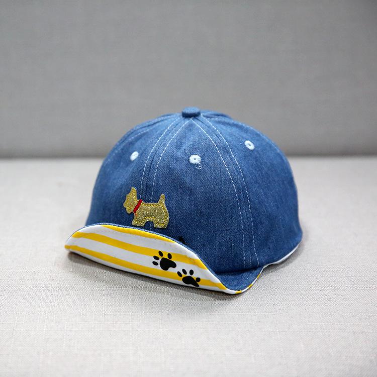 หมวกแก๊ปสียีนส์กลางลายน้องหมา แพ็ค 3 ชิ้น