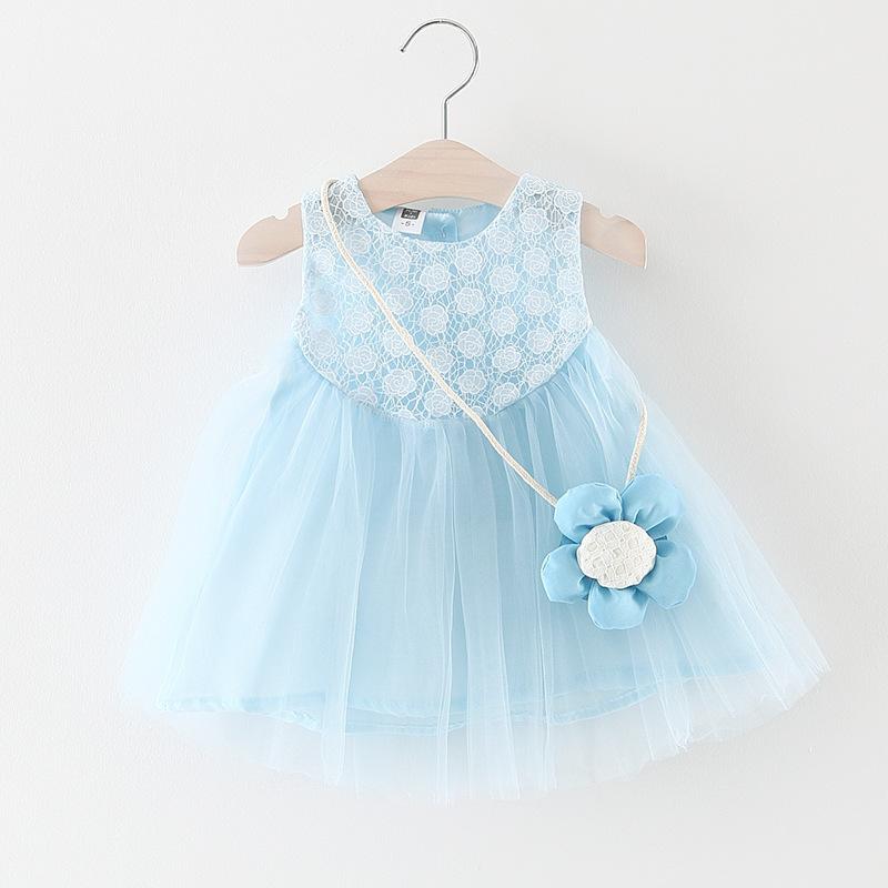 ชุดเดรสสีฟ้าพร้อมสายสะพายดอกไม้ แพ็ค 4 ชุด [size 6m-1y-18m-2y]