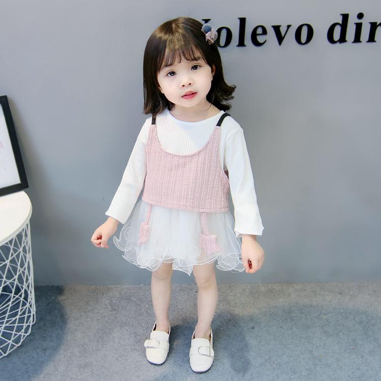 ชุดเดรสแขนยาวสีขาว+เสื้อกั๊กสายเดี่ยวสีชมพู [size 6m-1y-2y-3y]