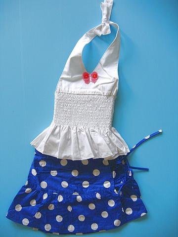 BON066 Kartoon เสื้อสายเดี่ยวเด็กผู้หญิงคล้องคอสีขาว ติดผีเสื้อตรงอก จับสม็อคช่วงลำตัว+ กระโปรงลายจุด สีน้ำเงิน Size 3 ขวบ