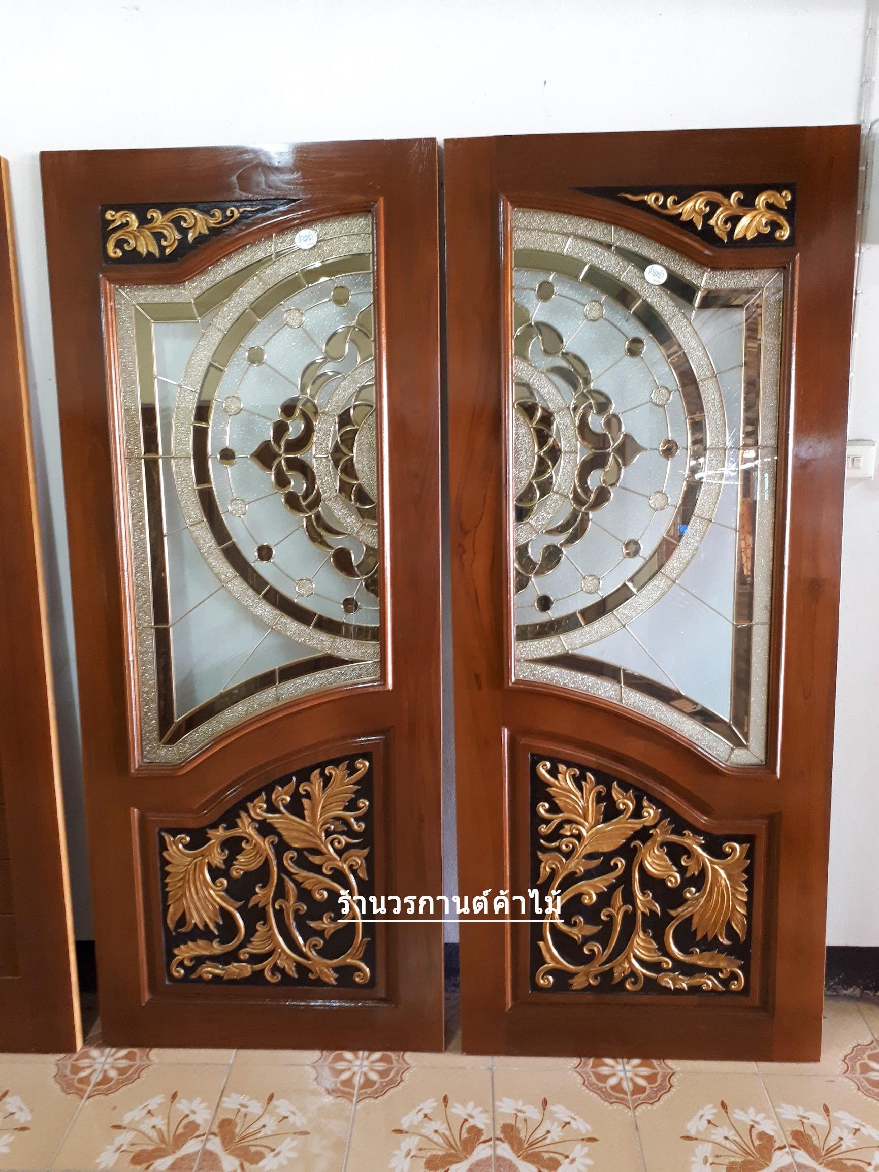 ประตูไม้สักกระจกนิรภัยปีกนก เกรดA รหัส A126