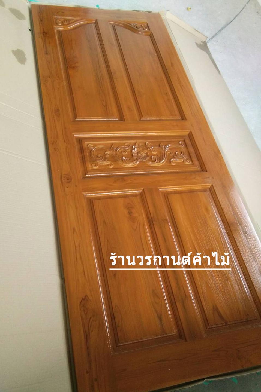 ประตูไม้สักบานเดี่ยวปีกนกสีสักทอง เกรดA,ฺฺB+ รหัส C96