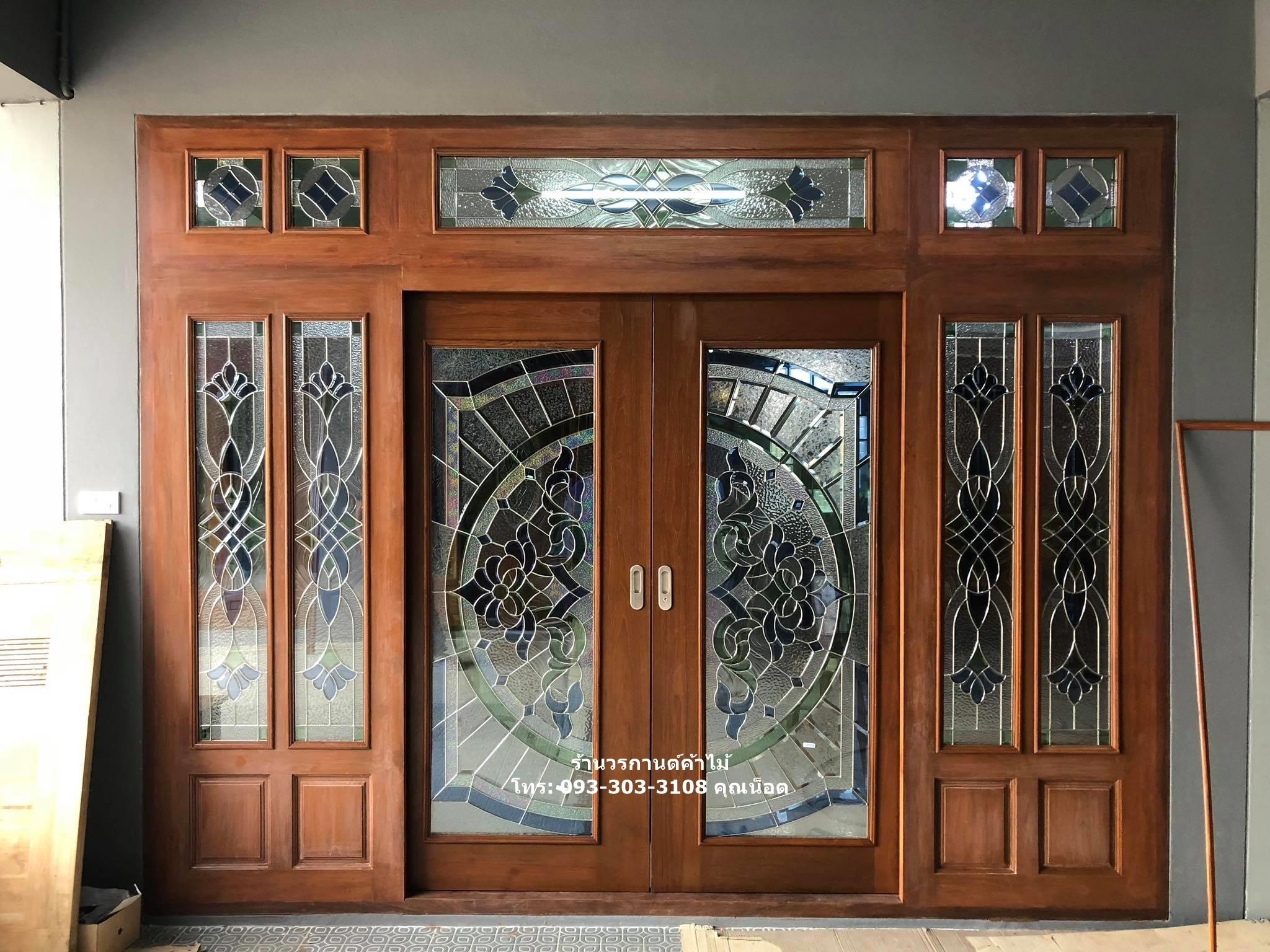 ประตูไม้สักกระจกนิรภัยเต็มบานรางเงิน ชุด7ชิ้น รหัส AAA02