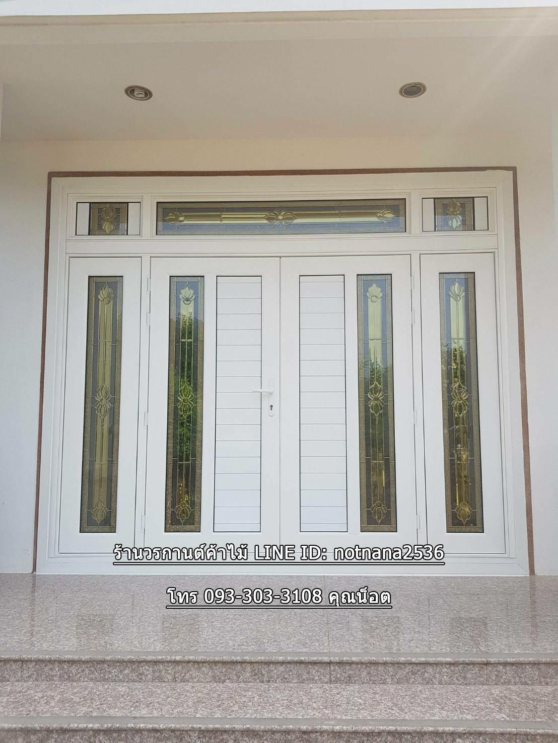 ประตูไม้สักกระจกนิรภัยสีขาว สไตล์โมดิร์น 7ชิ้น รหัส AAA122