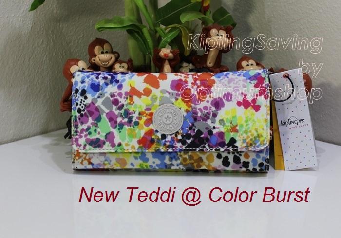 Kipling New Teddi Color Brust หรือชื่อเดิม Brownie Color Brust กระเป๋าสตางค์ใบยาว ขนาด 7.5x3.75x1xนิ้ว