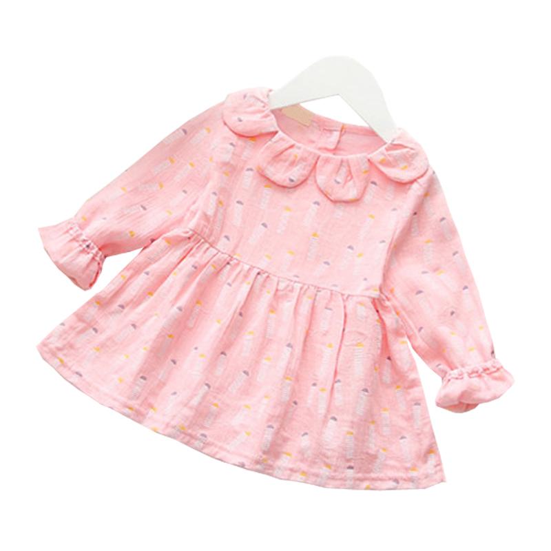 W067 : เสื้อแขนยาวสีชมพูผ้าฝ้ายลายหัวใจแต่งคอ