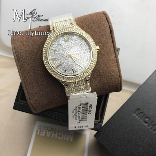 MICHAEL KORS Kerry Crystal Pave Dial Crystal-Set Steel Ladies Watch MK3360