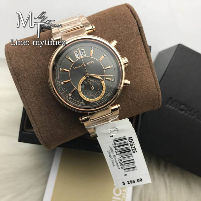 MICHAEL KORS Sawyer Grey Dial Rose Gold-plated Ladies Watch MK6226