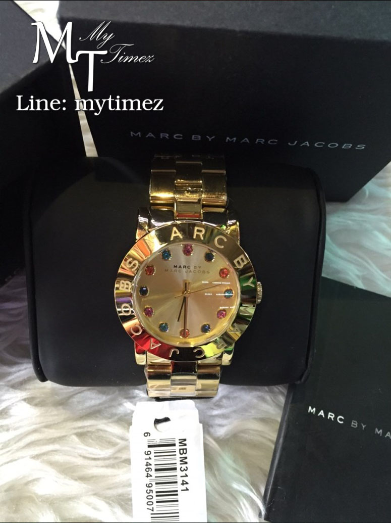 Marc Jacobs Amy Gold Tone Multi Glitz Dial Women's Watch MBM3141