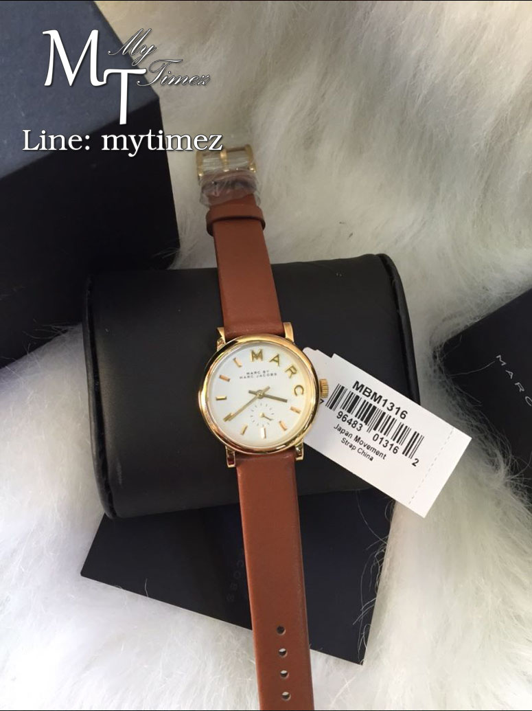 MARC BY MARC JACOBS Baker White Dial Leather Ladies Watch/Gold MBM1316
