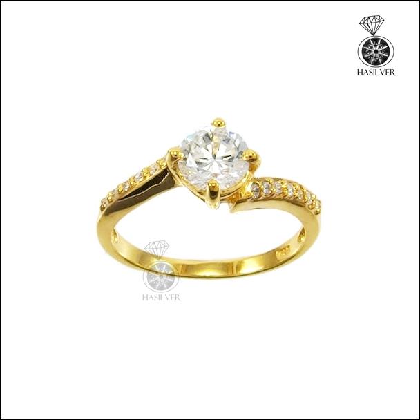 แหวนเงินแท้ ชุบทองไมคอน หนาพิเศษ ประดับเพชรCZ จากอเมริกา