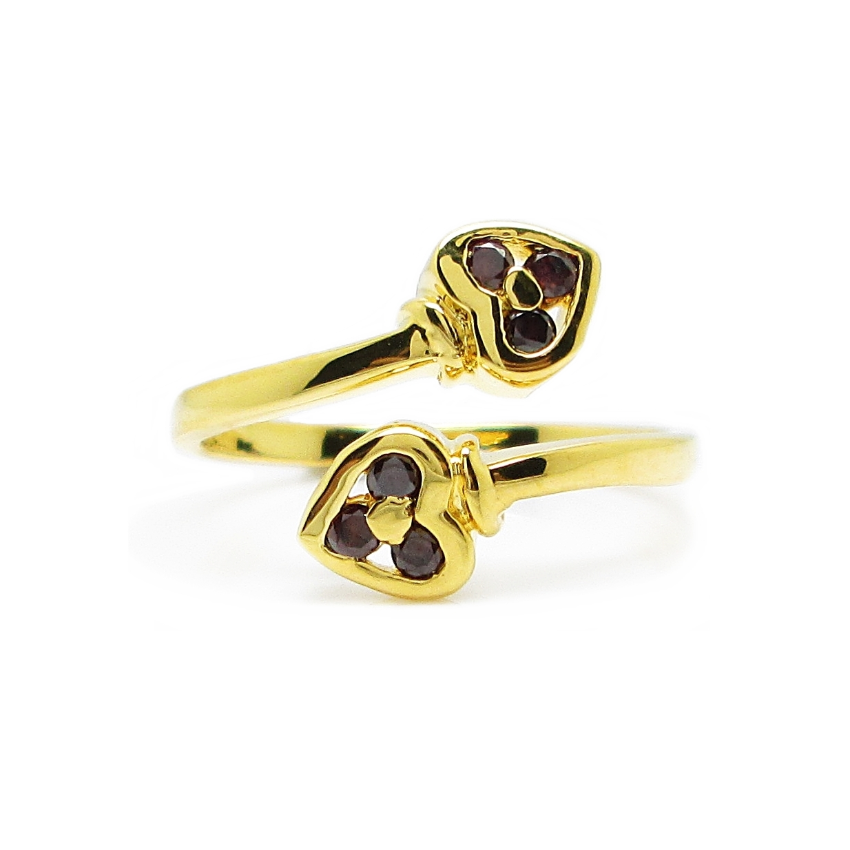 แหวนฟรีไซส์หัวใจประดับพลอยโกเมนชุบทอง