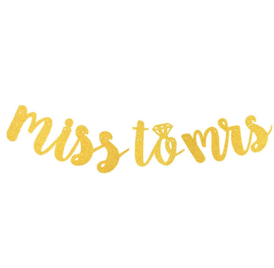 MISS TO MRS Handwriting Glitter Flag (Gold)