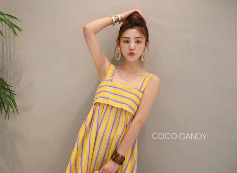 ชุดเดรส Bow Back Stripe Maxi Dress สีเหลือง