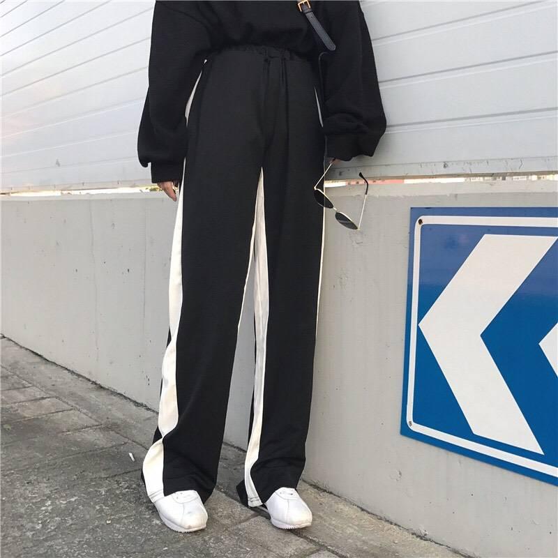 กางเกงขายาวเอวสูงแฟชั่น