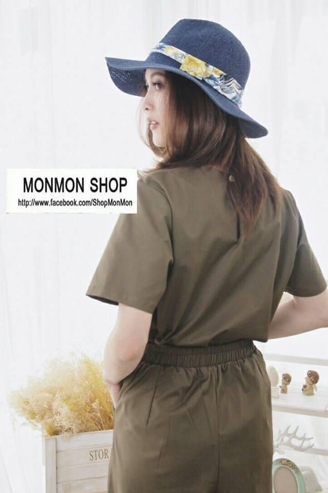 Short-sleeved top + pants set_Military Green