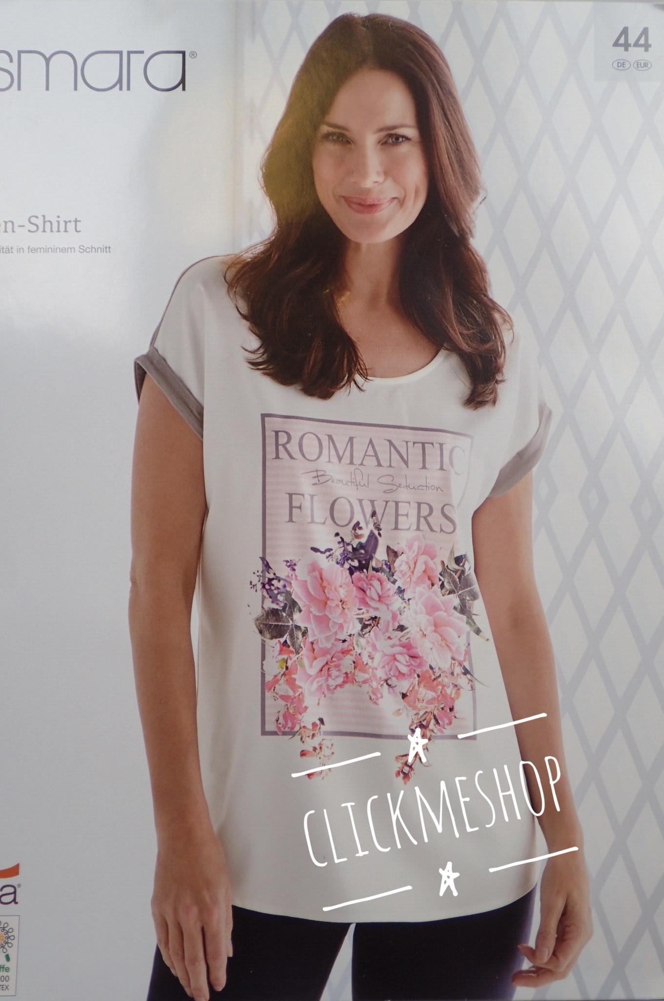 (ไซส์ 48 หน้าอก 48 นิ้ว ) เสื้อ สีเทา สกรีนลายดอกไม้ ยี่ห้อ esmara น่ารักคะ